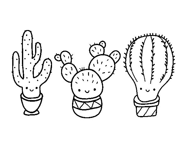 Coloriage de 3 mini cactus pour colorier - Cactus coloriage ...