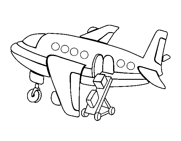 Coloriage de Avion transportant bagages pour Colorier
