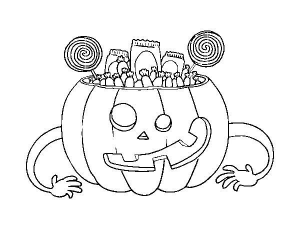 Coloriage de bonbons halloween citrouille pour colorier - Citrouille halloween a colorier ...