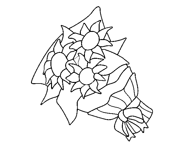Coloriage de Bouquet de tournesols pour Colorier