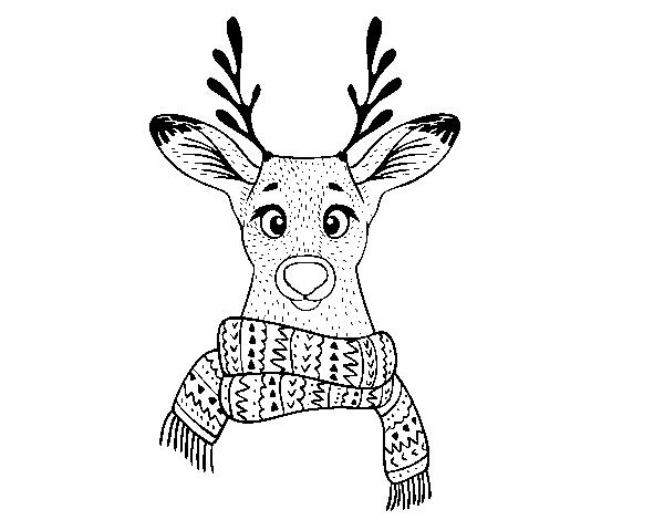 Coloriage de cerf avec charpe pour colorier - Coloriage de cerf ...