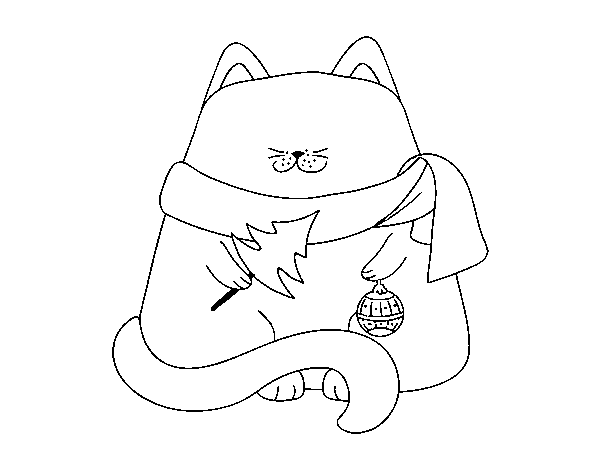 Coloriage de chat avec des d corations de no l pour - Coloriage de chat de noel ...