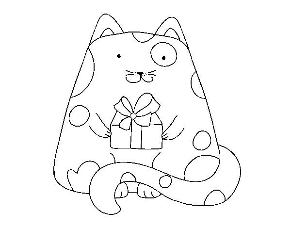 Coloriage Chat Cadeau.Coloriage De Chat Avec Un Cadeau Pour Colorier Coloritou Com