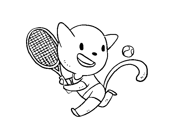 Coloriage de Chat tenis pour Colorier