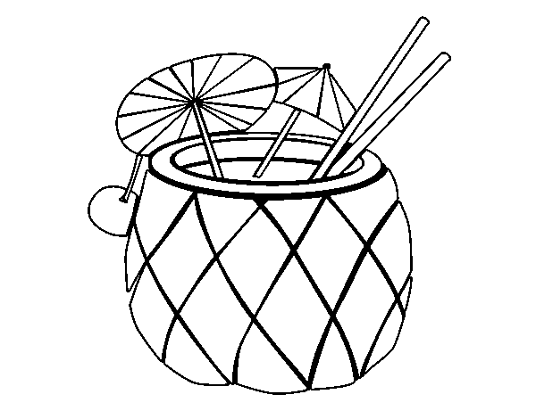 Coloriage de Cocktail ananas pour Colorier