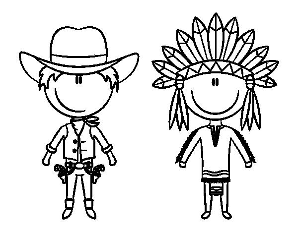 Coloriage De Contenu Cowboy Et Indien Pour Colorier Coloritoucom