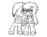 <span class='hidden-xs'>Coloriage de </span>Couple Emo à colorier