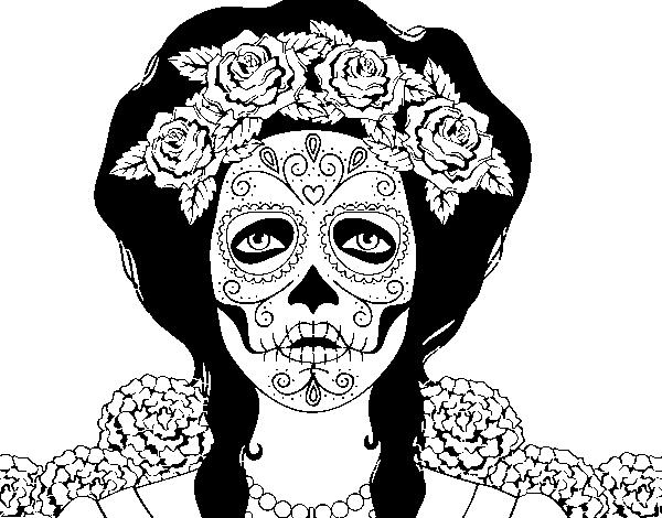 Coloriage De Crâne Mexicain Femme Pour Colorier Coloritou Com