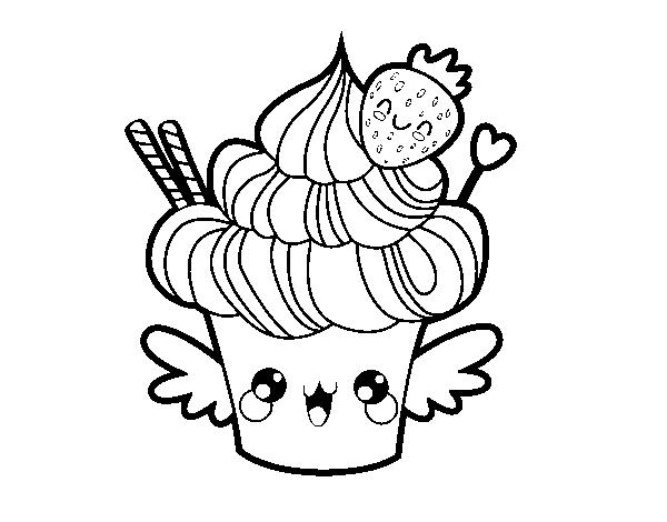 Coloriage De Cupcake Kawaii A La Fraise Pour Colorier Coloritou Com