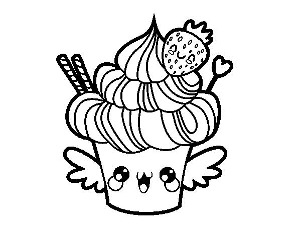 Coloriage De Cupcake Kawaii à La Fraise Pour Colorier Coloritou Com