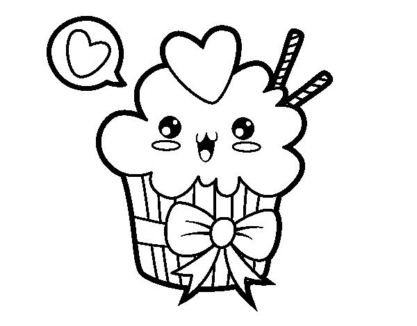 Coloriage De Cupcake Kawaii Avec Boucle Pour Colorier Coloritou Com