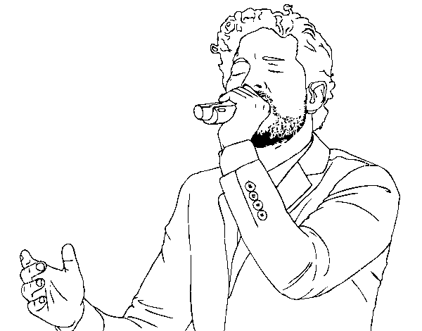Coloriage de David Bisbal chantant pour Colorier