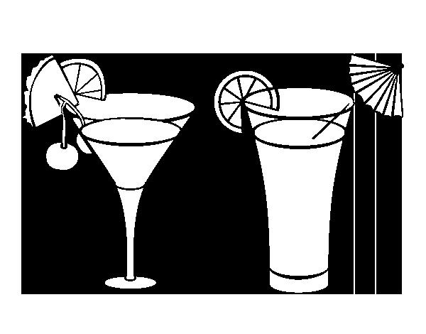 Coloriage de deux cocktails pour colorier - Dessin cocktail ...