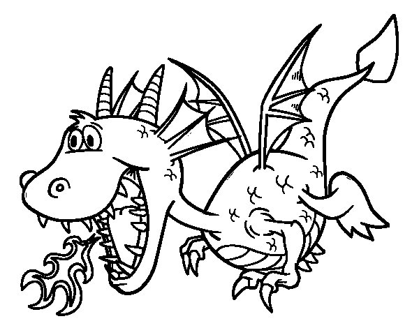 coloriage dragon qui crache feu pour enfants pictures