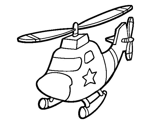 Coloriage De Hélicoptère Avec Une étoile Pour Colorier