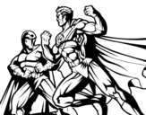 <span class='hidden-xs'>Coloriage de </span>Hero et méchant combats à colorier