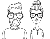 <span class='hidden-xs'>Coloriage de </span>Hipsters à colorier
