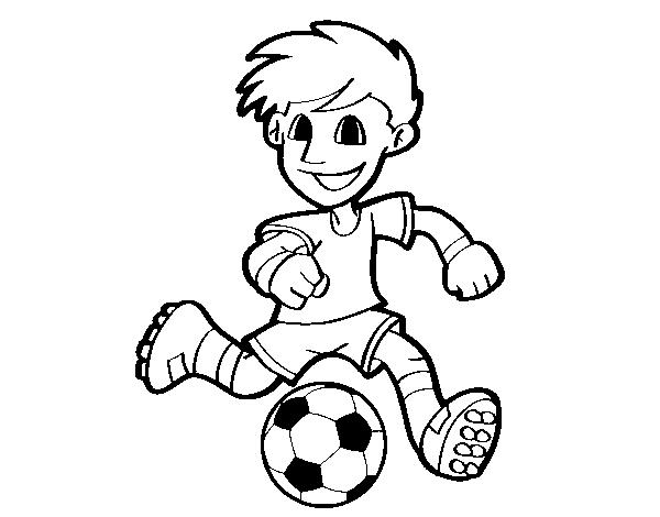 Ballon Pour Coloriage.Coloriage De Joueur De Football Avec Ballon Pour Colorier