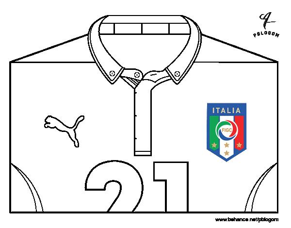 Coloriage De Maillot De La Coupe Du Monde 2014 De Litalie Pour