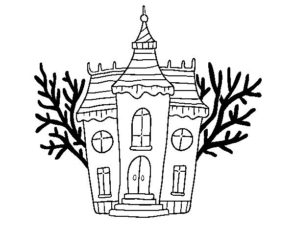 Coloriage de manoir d 39 halloween hant pour colorier - Manoir dessin ...