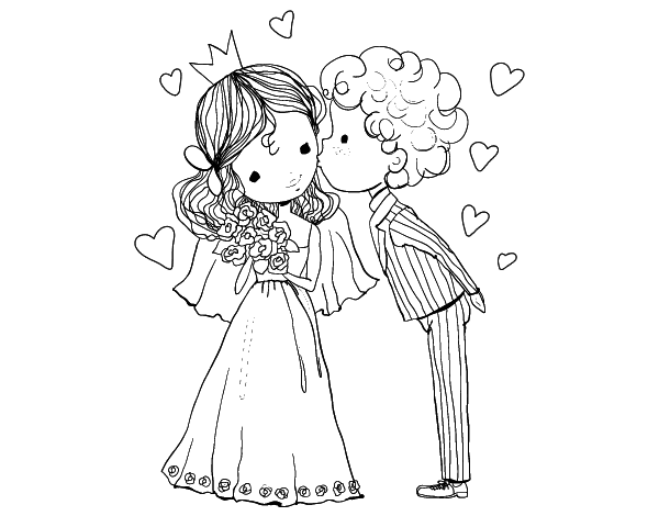 Coloriage Princesse Mariage.Coloriage De Mariage De Prince Et La Princesse Pour Colorier