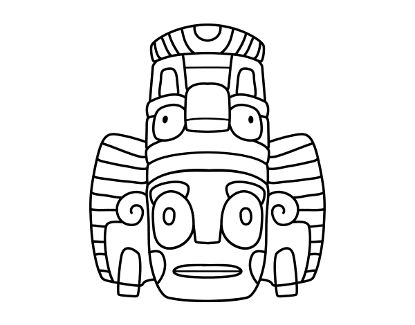 Coloriage De Masque Mexicain Des Rituels Pour Colorier