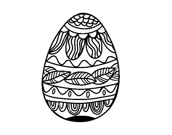 Coloriage Mandala Oeuf De Paques.Coloriage De Oeuf De Paques Avec Motif Vegetal Pour Colorier