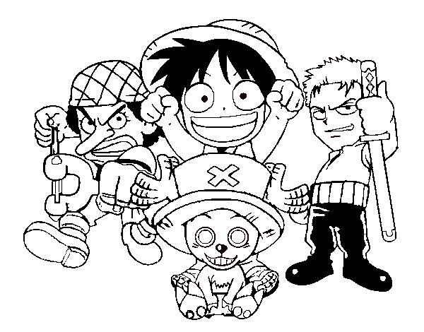 Coloriage de Personagges One Piece pour Colorier