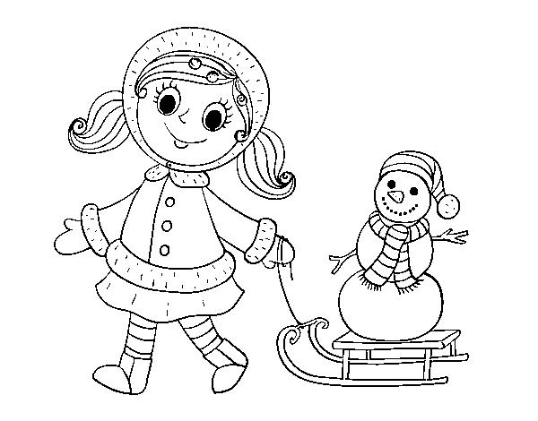 Coloriage de petite fille avec tra neau et bonhomme de neige pour colorier - Coloriage fillette ...