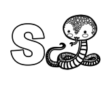 <span class='hidden-xs'>Coloriage de </span>S de Serpent à colorier