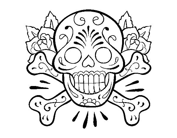 Coloriage De Tatouage De Tete De Mort Pour Colorier Coloritou Com