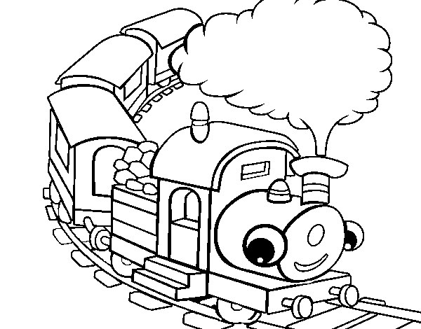 Coloriage de Train souriant pour Colorier