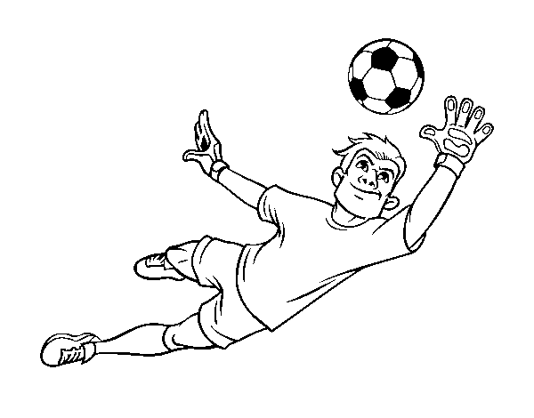 Coloriage de Un gardien de but de football pour Colorier