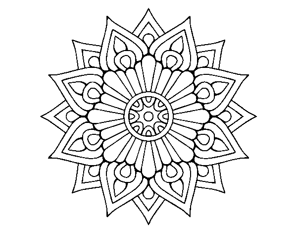 Coloriage de Un mandala flash floral pour Colorier