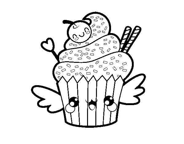 Coloriage De Une Cupcake Kawaii Pour Colorier Coloritou Com