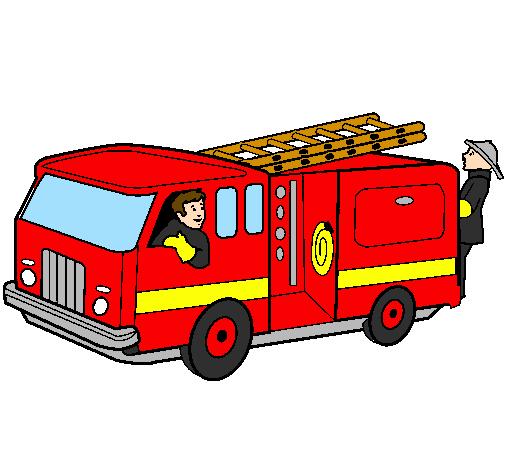 Dessin De Pompiers Dans Le Camion Colorie Par Membre Non