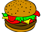 Coloriage Hamburger complet colorié par kylianthedragon