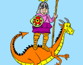 Coloriage Chevalier Saint Georges et le dragon colorié par ghjulianu