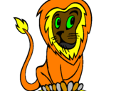 Coloriage Lion colorié par dessin