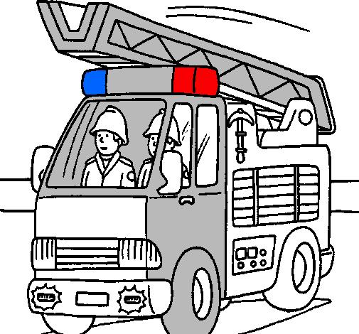 Dessin de Voiture de pompiers colorie par Membre non ...