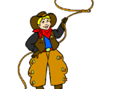 Coloriage Cow-boy avec lasso colorié par natacha .d