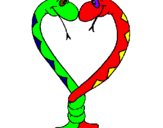 Coloriage Serpents amoureux colorié par GUI
