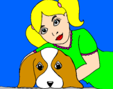 Coloriage Fillette embrassant son chien colorié par caitline menn
