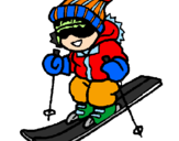 Coloriage Enfant en train de skier colorié par caroline