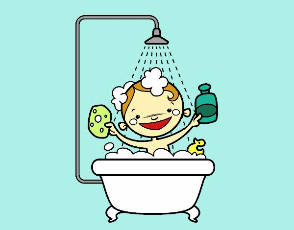 Dessin de Enfant dans la douche colorie par Membre non ...
