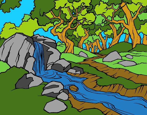 Dessin de Paysage de forêt avec une rivière colorie par ...
