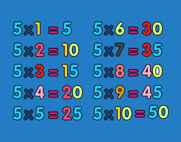 Dessin De La Table De Multiplication Du 5 Colorie Par Membre Non