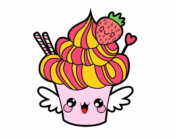 Dessin de Cupcake kawaii à la fraise colorie par Membre ...