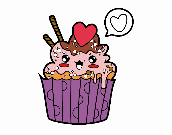 Dessin de Cupcake kawaii colorie par Membre non inscrit le ...