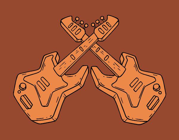 Dessin de Guitares électriques colorie par Membre non ...